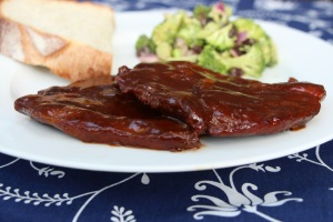 Barbecued pork steaks