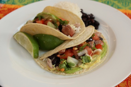 Corn tortilla fish tacos minimized
