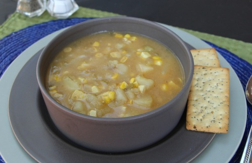Minimized corn chowder bowl